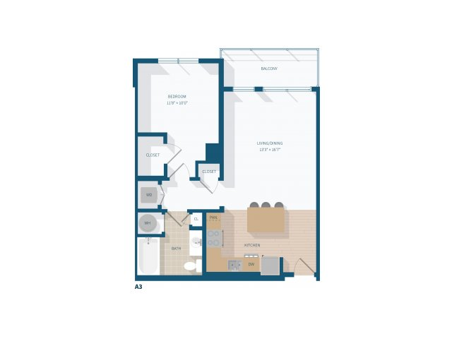 1 Bedroom -  A3 -  776 square feet