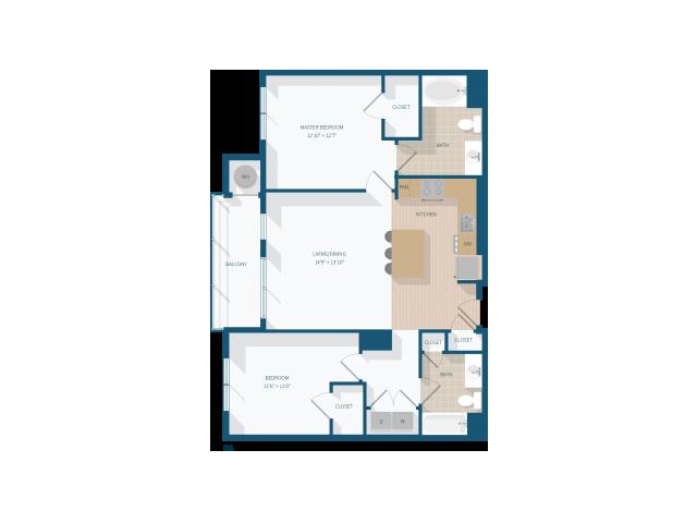 2 Bedroom - B1 - 1137 Square Feet