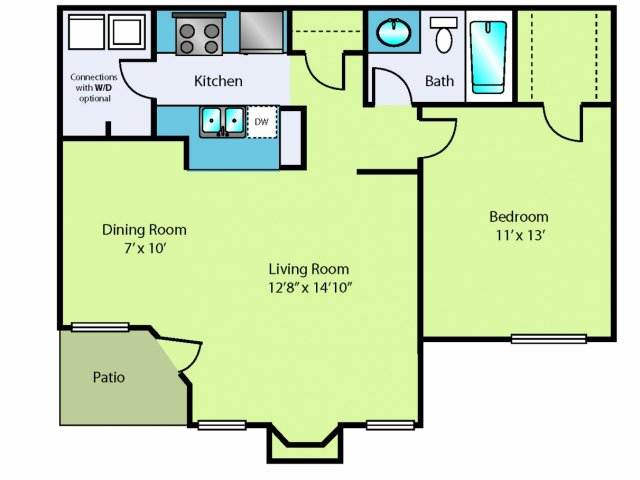 1 bed 1 bath apartment in ridgeland ms oakbrook apartments for Floor plans jackson ms