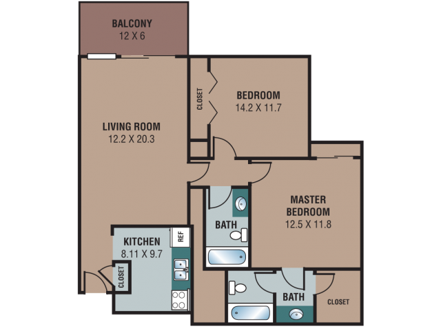 853-893 Sqft 2 Bed 2 Bath