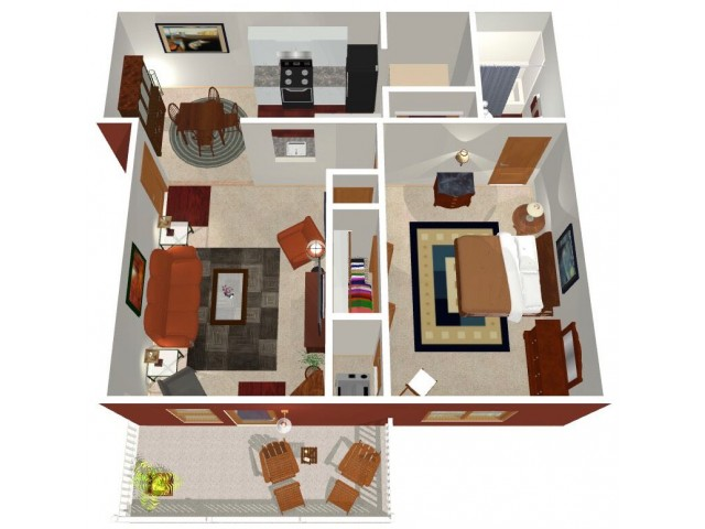 Park Hill at Fairlawn 1-bed floorplan