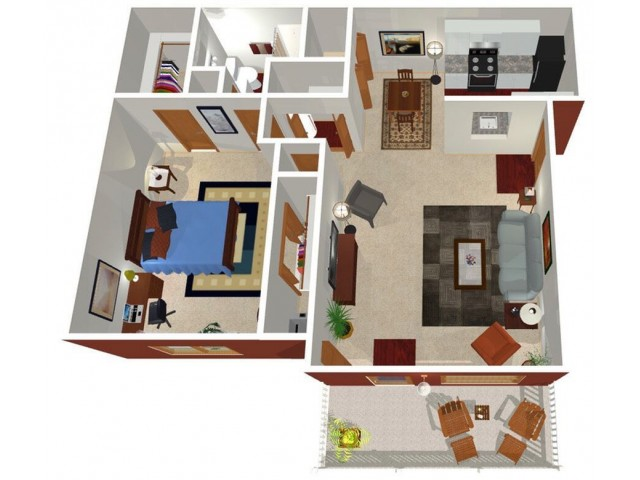 Park Hill at Fairlawn 1-bed floor plan