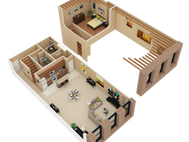 Amenager L Espace La Semi Cloison En Lames De Bois as well 300 To 400 Sq Ft House Plans also A in addition Dhsw09804 besides 270 Sq Ft La Mirada Tiny House On Wheels For Sale. on 600 square feet studio apartment floor plans