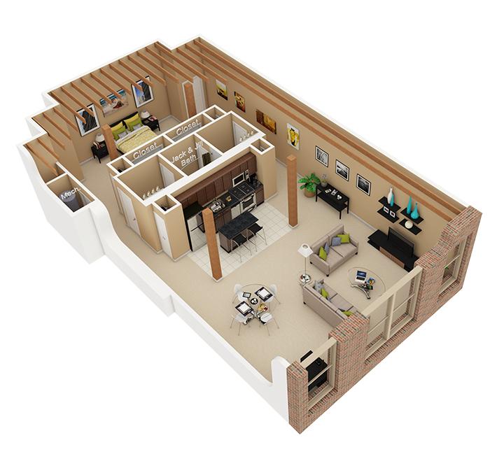 1 bed 1 5 bath apartment in chicago il cobbler square for Loft apartment floor plans
