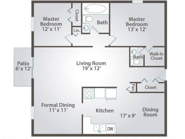 Floor plan B two bedroom with one and half bath