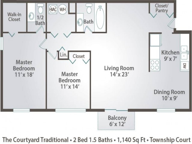 floor plan B1 two bedroom with one and half bath