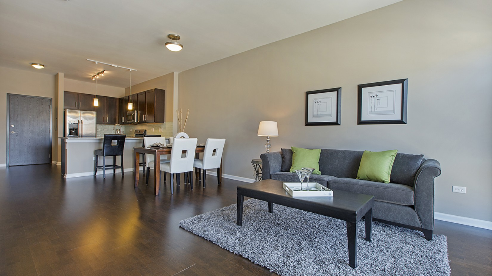 apartment living room at The Shelby Apartments in Chicago