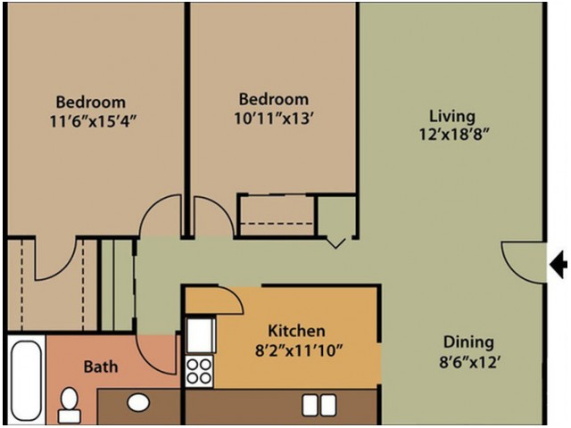 floor plan B two bedroom one bath