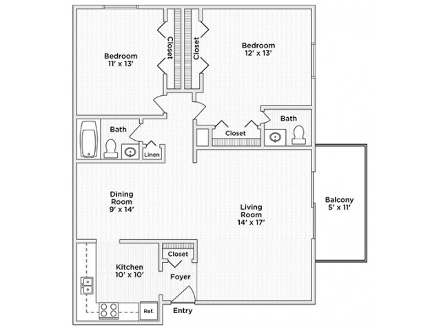 floor plan B1 two bedroom one and half bath