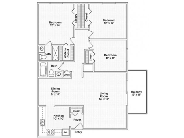 floor plan D three bedroom two bath