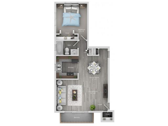 one bedroom one bath apartment floor plan