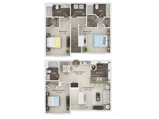 Three Bedroom, Three Bath with 1-car Garage (D1TH)