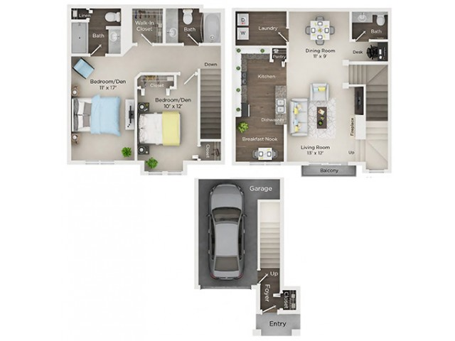Two Bedroom, Two and Half Bath with 1-car Garage