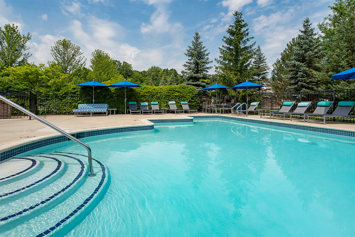 outdoor swimming pool and sundeck