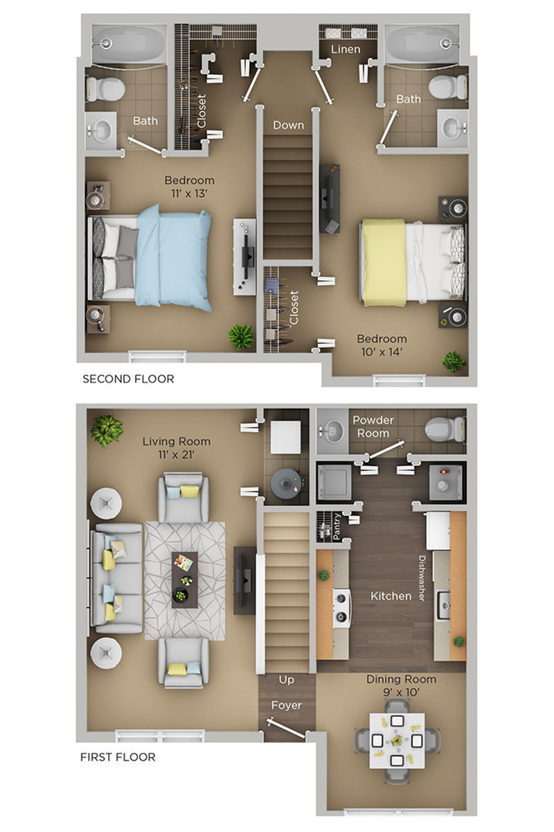 two bed two and half bath C2THp townhome floor plan