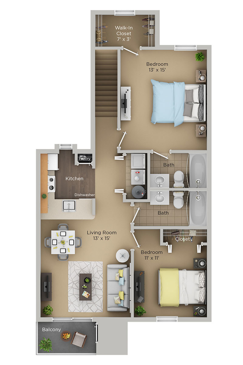 two bed two bath C1p floor plan