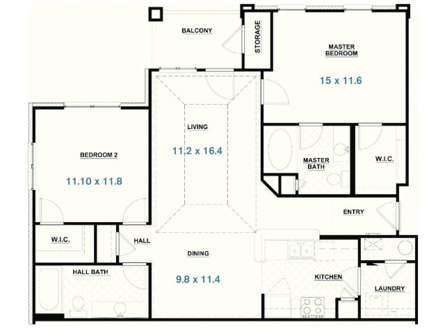 All|Floor Plans2 Bedroom Handicap