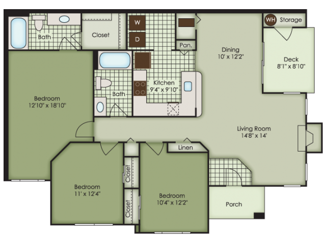 3 bed 2 bath apartment in virginia beach va magnolia chase The laurels floor plan
