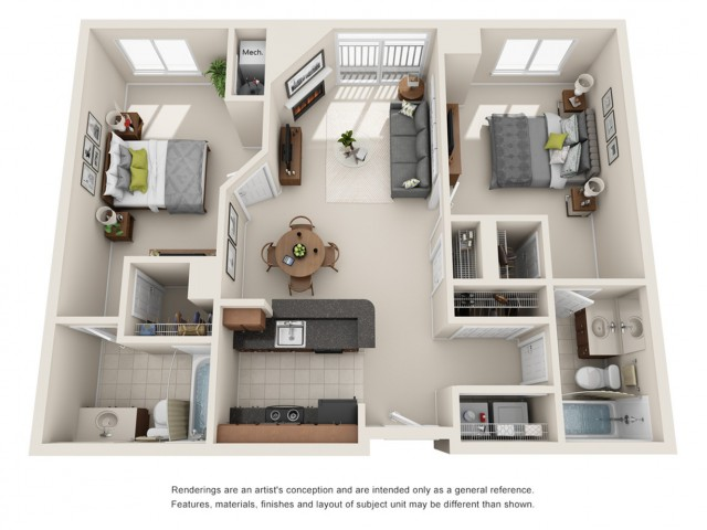 Cosmopolitan Apartments two bedroom floor plan