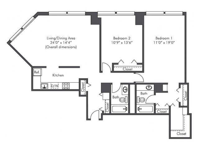 2 bed / 2 bath apartment in chicago il | presidential towers
