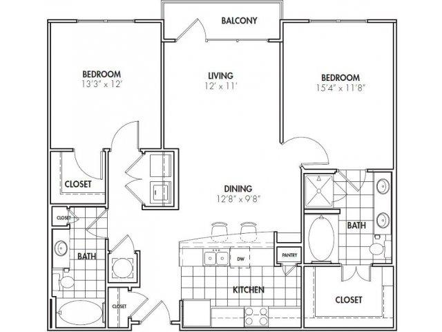 1 2 Bedroom Apartments In Dunwoody Ga Two Blocks Floor Plans