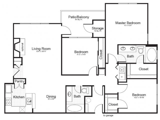 3 Bedroom Floor Plan | Addison Park 2