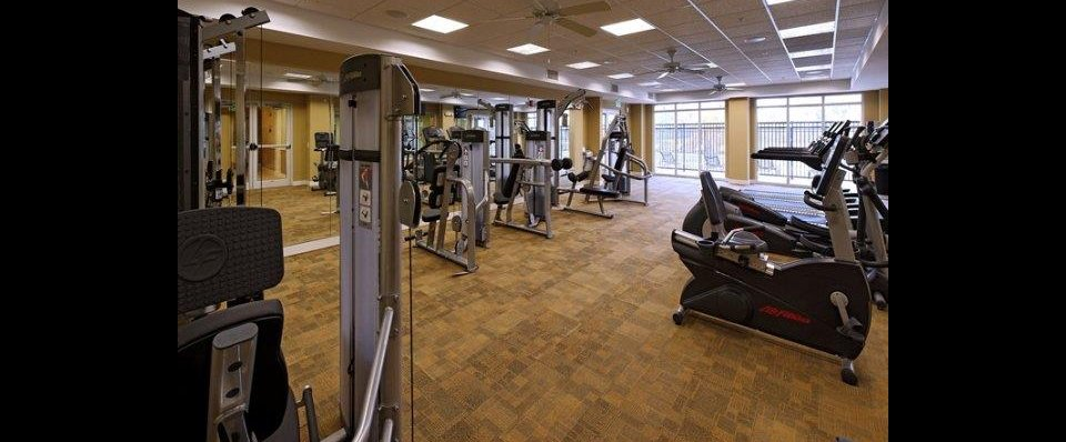 Fitness center of apartments near Towson University