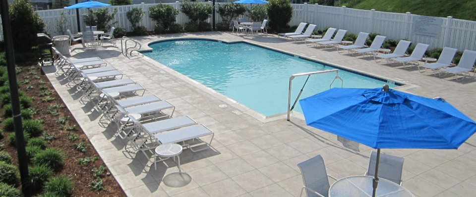 Sparkling outdoor pool for our rentals in Cranston RI at Independence Place