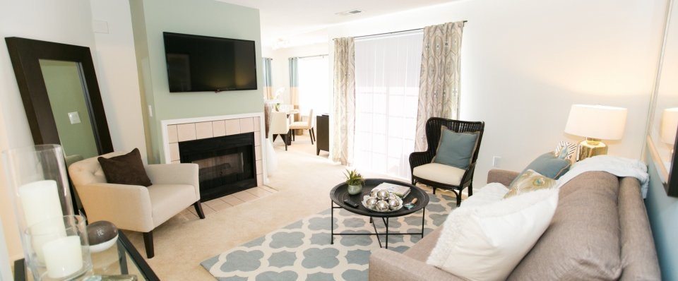 Living room at the Groves at Piney Orchard apartments | Odenton apartments for rent