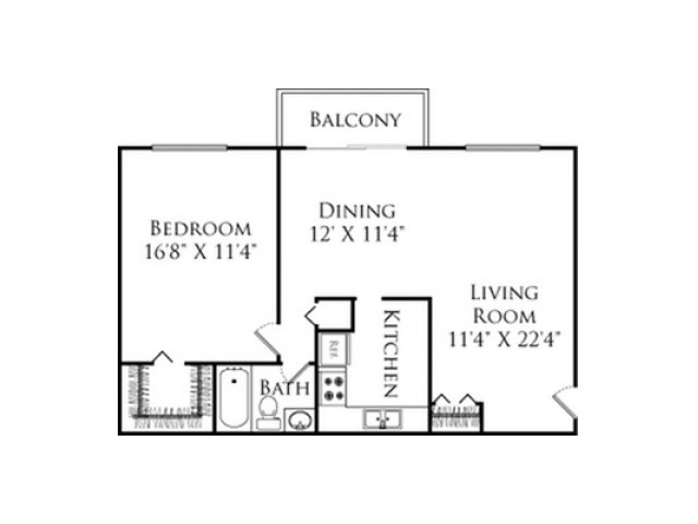 1 Bdrm Floor Plan | Apartments in Fall River MA | South Winds