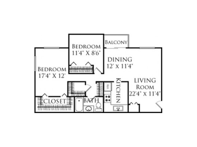 2 Bedroom Floor Plan | Fall River MA Apartments | South Winds