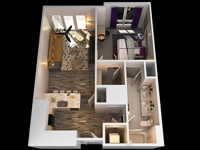 C 1 Bedroom Floor Plan | Towson Luxury Apartments | The Southerly
