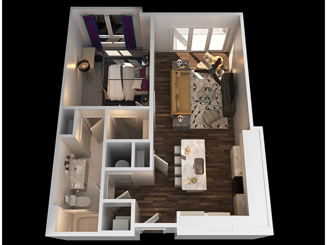E 1 Bedroom Floor Plan | Towson Luxury Apartments | The Southerly