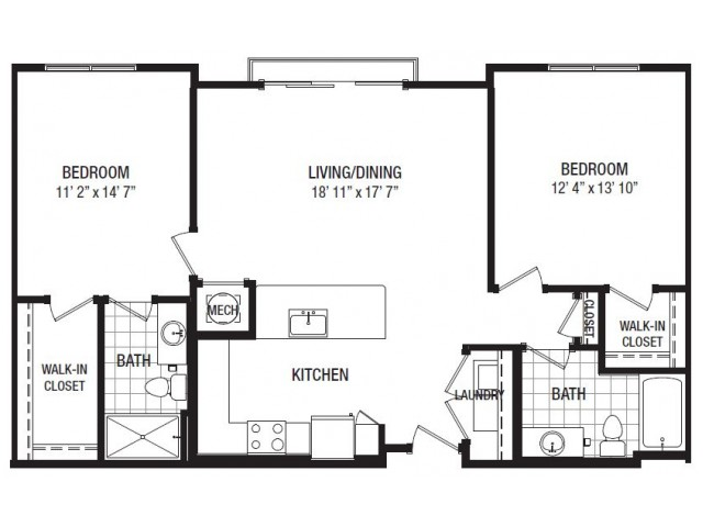 E 2 Bedroom Floor Plan | Luxury Apartments In Towson MD | The Southerly