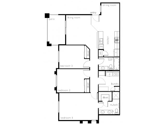 Floor Plan 3 | Town Center Apartments