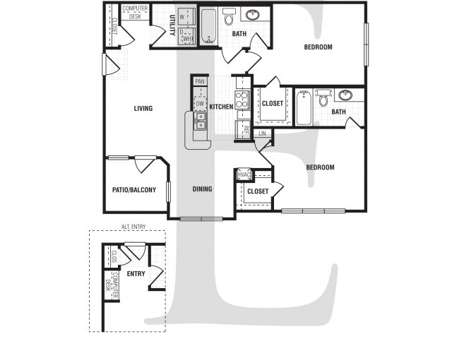 2 Bedroom Floor Plan | Villa du Lac