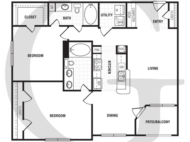 2 Bedroom Floor Plan | Villa du Lac3