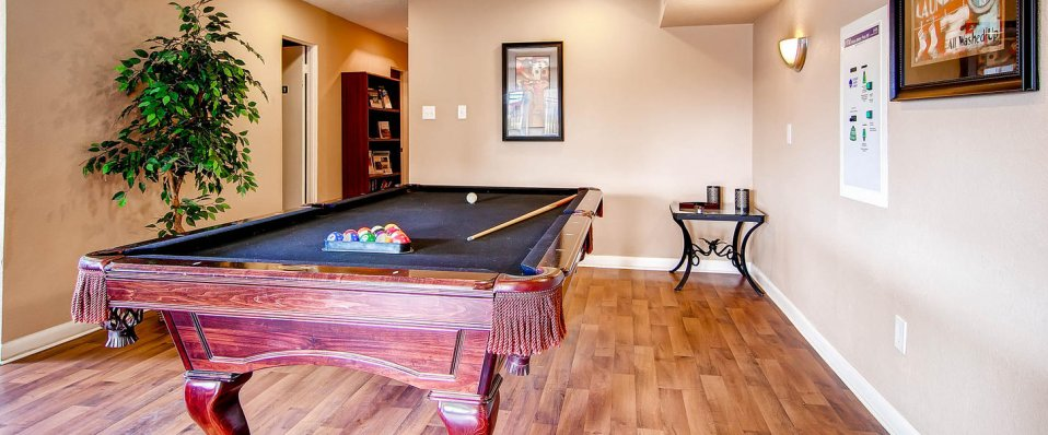Billiards room at apartments for rent in Arvada, Colorado