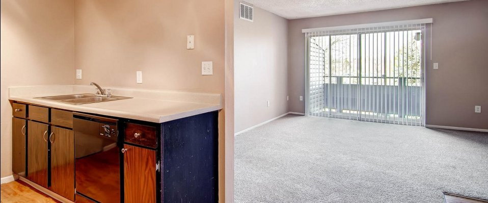 Living room and kitchen of apartments in Westminster, CO