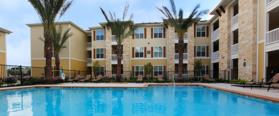 Relaxing pool at our Houston TX Apartments | The Reserve at Jones Road