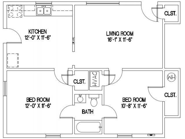 Small two bedroom apartment floor plans for Small two bedroom apartment floor plans