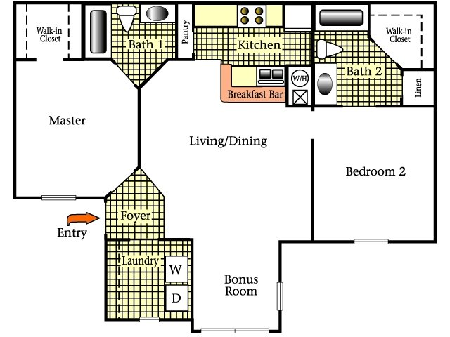 2D Floor Plan image for the Two Bedroom Two Bath Floor Plan of Property Cricket Club