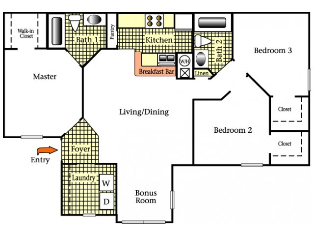 2D Floor Plan image for the Three Bedroom Two Bath Floor Plan of Property Cricket Club