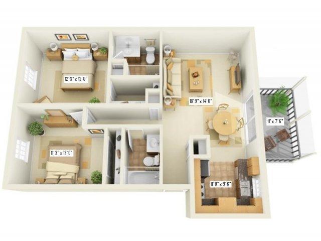 Floor Plan 3   Largo Apartments   Fountains of Largo