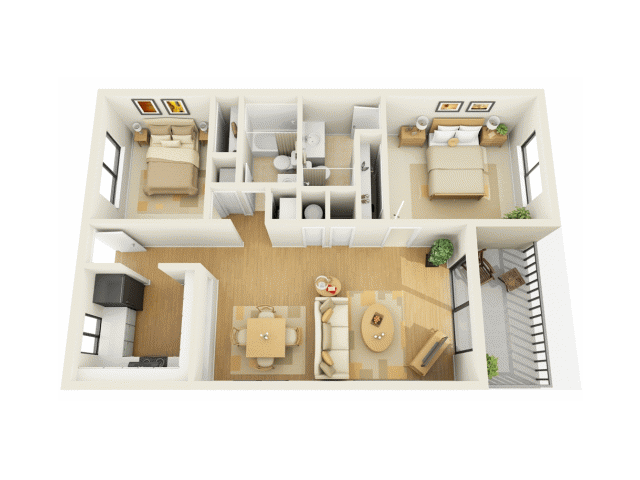 2 Bedroom Floor Plan | 1 Bedroom Luxury Bradenton FL Apartments | Bay Club