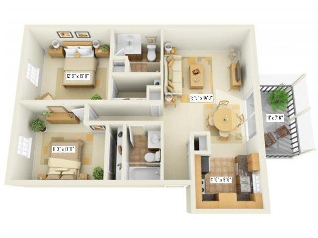 Floor Plan 7   Apartments In Largo   Fountains of Largo