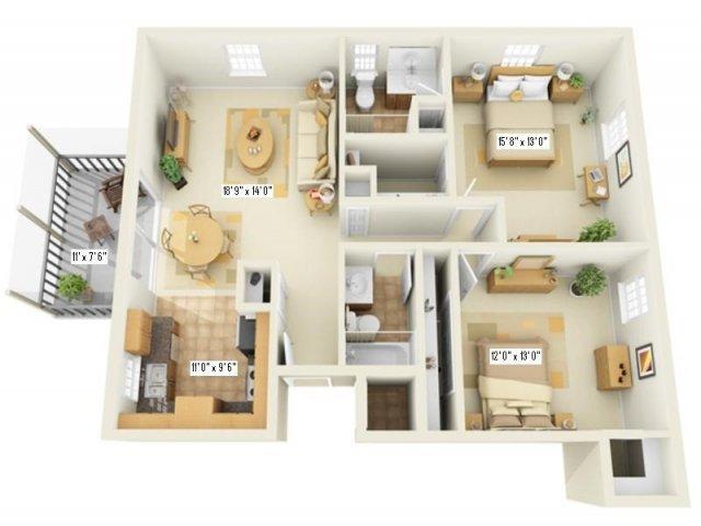 Floor Plan 8   Apartments For Rent Largo FL   Fountains of Largo