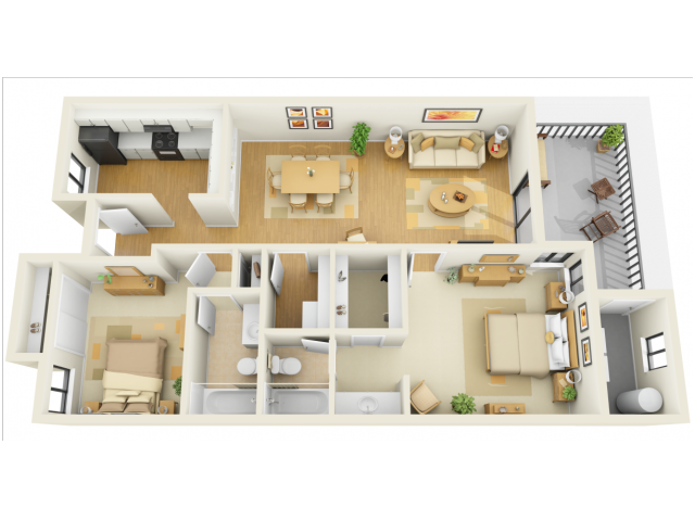 2 Bdrm Floor Plan | 2 Bedroom Luxury Bradenton FL Apartments | Bay Club