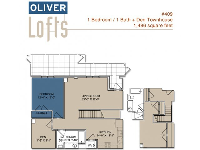1 bedroom townhouse. for the Two Bedroom Townhouse plus Den floor plan  2 Bed Bath Apartment in Boston MA Oliver Lofts