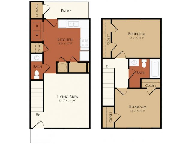Floor Plans Two Bedroom Townhouse Undefined